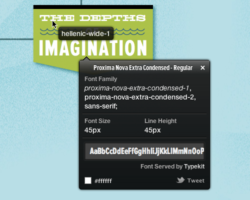 A screenshot showing WhatFont in action.
